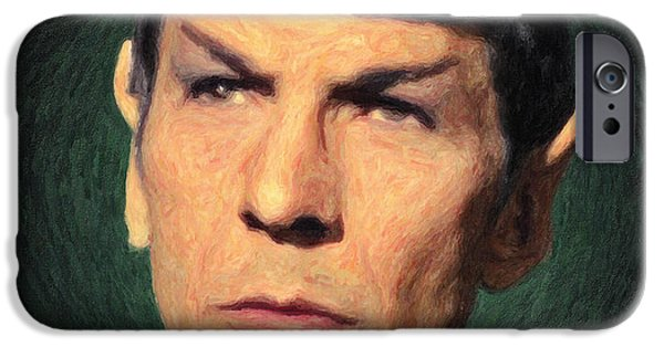 Supernova Paintings iPhone Cases - Spock iPhone Case by Taylan Soyturk