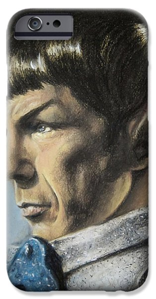 Character Portraits Pastels iPhone Cases - Spock - The Pain of Loss iPhone Case by Liz Molnar