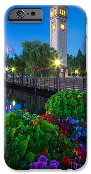 Spokane Clocktower by Night iPhone Case by Inge Johnsson