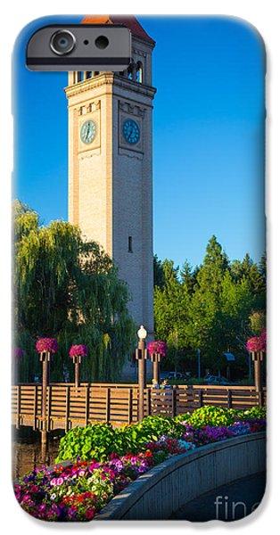 Spokane iPhone Cases - Spokane Clocktower iPhone Case by Inge Johnsson