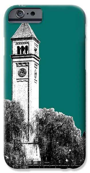 Pen And Ink iPhone Cases - Spokane Skyline Clock Tower - Sea Green iPhone Case by DB Artist