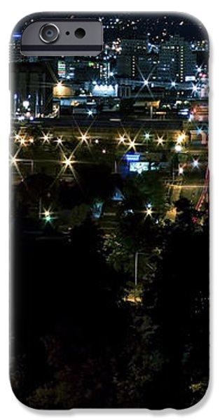 SPOKANE WASHINGTON SKYLINE at NIGHT iPhone Case by Daniel Hagerman