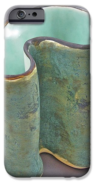 Abstracts Ceramics iPhone Cases - Spontaneous 07-018 iPhone Case by Mario Perron