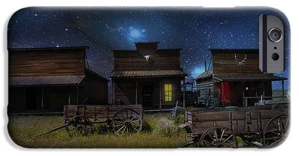 Log Cabins iPhone Cases - Spooky Ghost Town iPhone Case by Juli Scalzi