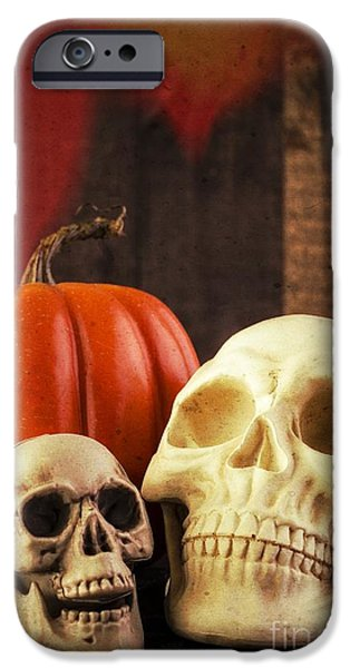 Ghoul iPhone Cases - Spooky Halloween Skulls iPhone Case by Edward Fielding