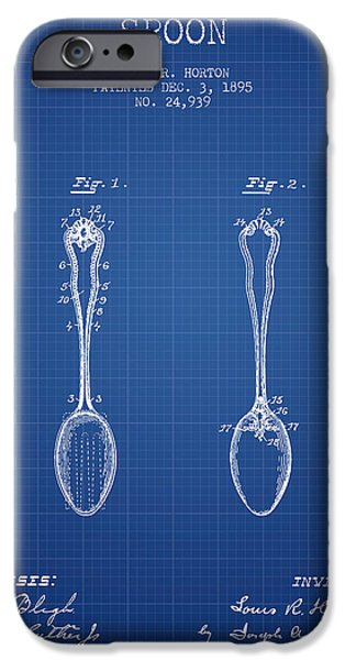 Spoon iPhone Cases - Spoon patent from 1895 - Blueprint iPhone Case by Aged Pixel