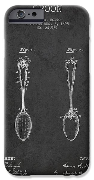 Spoon iPhone Cases - Spoon patent from 1895 - Dark iPhone Case by Aged Pixel