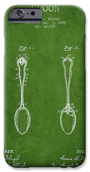 Spoon iPhone Cases - Spoon patent from 1895 - Green iPhone Case by Aged Pixel
