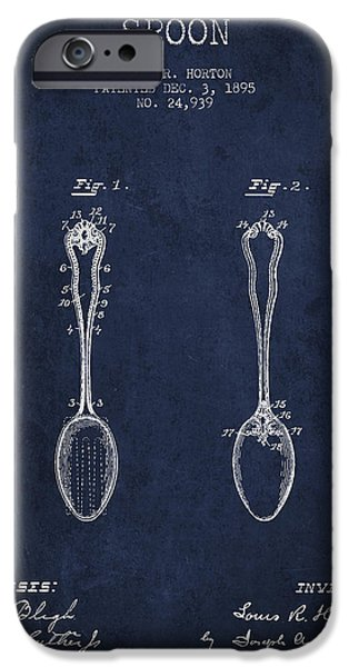 Spoon iPhone Cases - Spoon patent from 1895 - Navy Blue iPhone Case by Aged Pixel