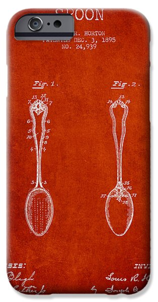 Spoon iPhone Cases - Spoon patent from 1895 - Red iPhone Case by Aged Pixel