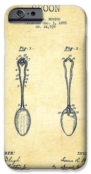 Spoon iPhone Cases - Spoon patent from 1895 - Vintage iPhone Case by Aged Pixel