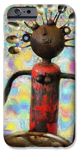 Conceptual Sculptures iPhone Cases - Spoon Woman iPhone Case by Karon Melillo DeVega