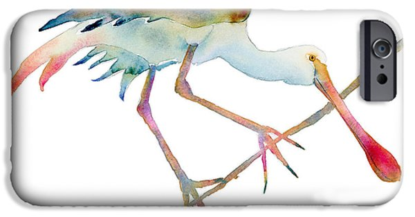 Fowl iPhone Cases - Spoonbill  iPhone Case by Amy Kirkpatrick