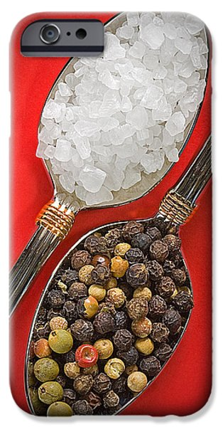 Interior Still Life iPhone Cases - Spoonfuls of Salt and Pepper iPhone Case by Susan Candelario