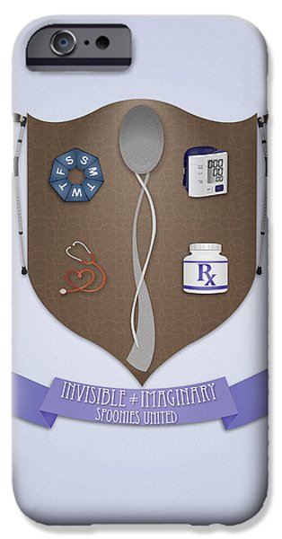 Crutch Digital iPhone Cases - Spoonie Coat of Arms iPhone Case by SarahCate Philipson