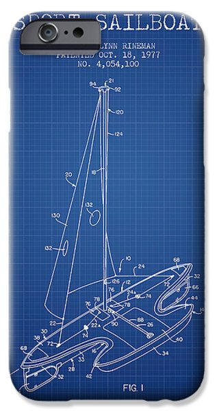Sailboats iPhone Cases - Sport Sailboat Patent from 1977 - Blueprint iPhone Case by Aged Pixel
