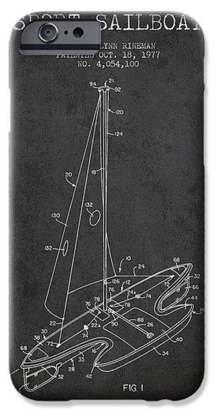 Sailboats iPhone Cases - Sport Sailboat Patent from 1977 - Dark iPhone Case by Aged Pixel