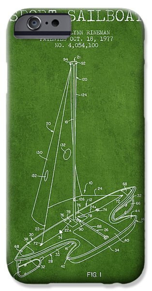 Sailboats iPhone Cases - Sport Sailboat Patent from 1977 - Green iPhone Case by Aged Pixel