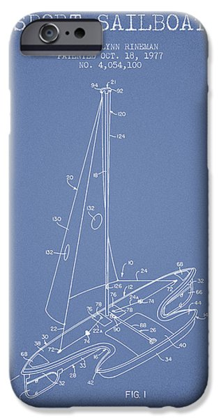 Sailboat Digital Art iPhone Cases - Sport Sailboat Patent from 1977 - Light Blue iPhone Case by Aged Pixel