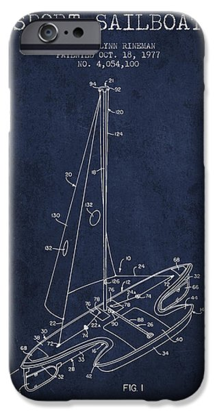 Sailboats iPhone Cases - Sport Sailboat Patent from 1977 - Navy Blue iPhone Case by Aged Pixel