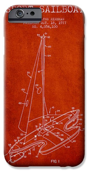 Sailboats iPhone Cases - Sport Sailboat Patent from 1977 - Red iPhone Case by Aged Pixel