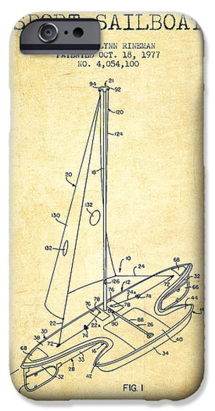 Sailboats iPhone Cases - Sport Sailboat Patent from 1977 - Vintage iPhone Case by Aged Pixel