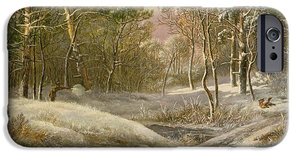 Exploring Paintings iPhone Cases - Sportsmen in a Winter Forest iPhone Case by Pieter Gerardus van