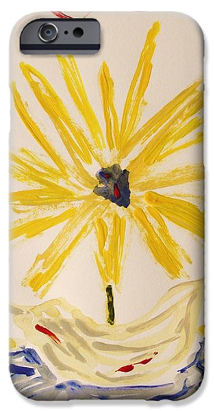 Inner Self Drawings iPhone Cases - Spotlight on Yellow iPhone Case by Mary Carol Williams