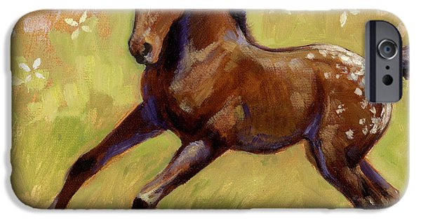 Filly iPhone Cases - Spots and Flowers iPhone Case by Tracie Thompson