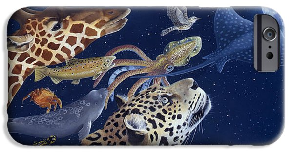 Space Paintings iPhone Cases - Spots Collage iPhone Case by Laura Regan