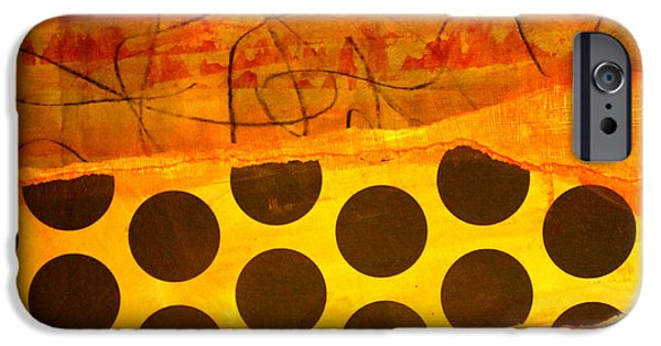 Tangerines Paintings iPhone Cases - Spotted Sunset iPhone Case by Nancy Merkle