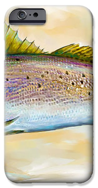 Spotted Trout Illustration iPhone Case by Mike Savlen