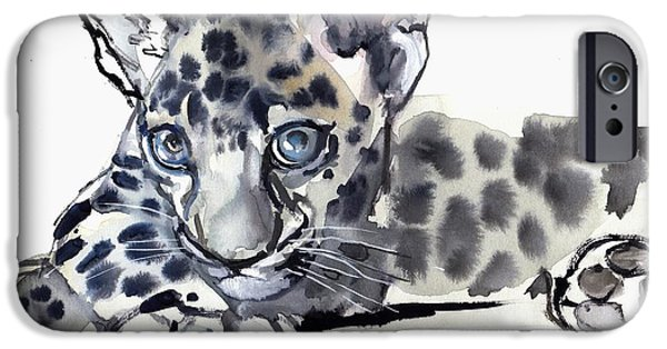 On Paper Paintings iPhone Cases - Spotty iPhone Case by Mark Adlington
