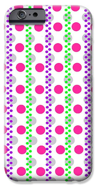 Modern Digital Art iPhone Cases - Spotty Stripe iPhone Case by Louisa Hereford