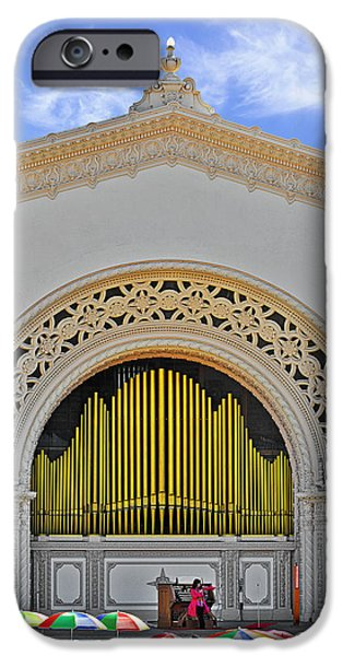 Umbrella iPhone Cases - Spreckles Organ San Diego iPhone Case by Christine Till
