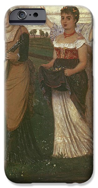 Trio Photographs iPhone Cases - Spring, 1876 iPhone Case by Arnold Bocklin