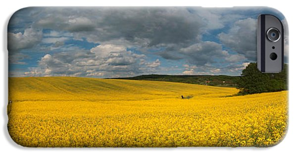 Field. Cloud iPhone Cases - Spring at oilseed rape field iPhone Case by Davorin Mance