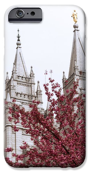 Angel Moroni iPhone Cases - Spring at the Temple iPhone Case by Chad Dutson