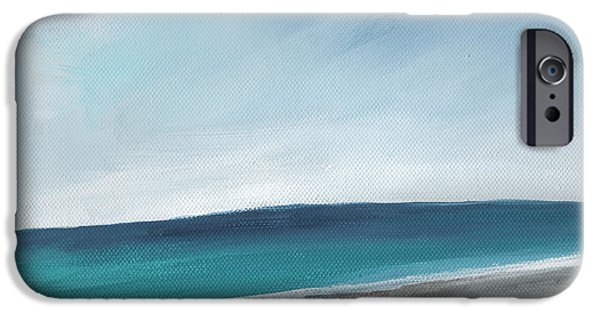 Corporate Art iPhone Cases - Spring Beach- contemporary abstract landscape iPhone Case by Linda Woods