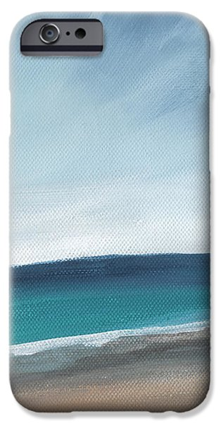 Beach Landscape iPhone Cases - Spring Beach- contemporary abstract landscape iPhone Case by Linda Woods