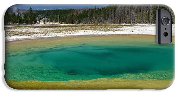 Alga iPhone Cases - Spring, Beauty Pool, Yellowstone iPhone Case by Panoramic Images