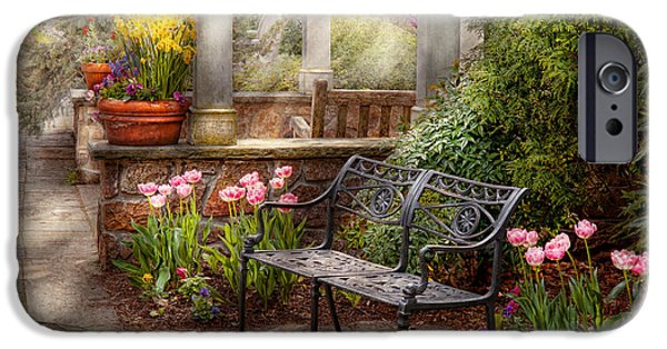 Antique Ironwork iPhone Cases - Spring - Bench - A place to retire  iPhone Case by Mike Savad