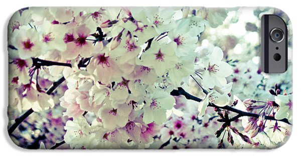 Blooming Pyrography iPhone Cases - Spring Blooms I iPhone Case by Mira Dimitrijevic