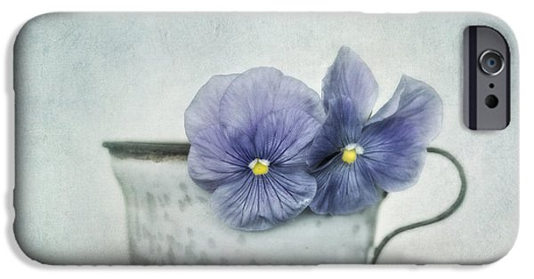 Pansy iPhone Cases - Spring Blues With A Hint Of Yellow iPhone Case by Priska Wettstein