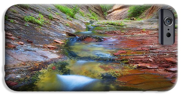 West Fork Photographs iPhone Cases - Spring Cascades iPhone Case by Peter Coskun