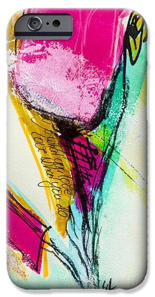 Airbrush Mixed Media iPhone Cases - Spring Colours iPhone Case by Viaina