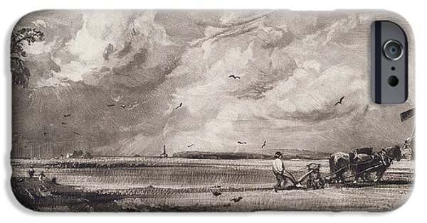 Agriculture iPhone Cases - Spring, Engraved By David Lucas 1802-81 C.1829-30 Mezzotint iPhone Case by John Constable