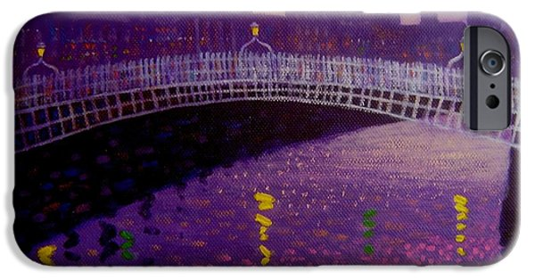 Decorative Art iPhone Cases - Spring Evening Ha Penny Bridge Dublin iPhone Case by John  Nolan