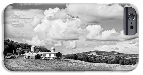 Maine Barns iPhone Cases - Spring Farm And Hay Field With Clouds in Maine iPhone Case by Keith Webber Jr