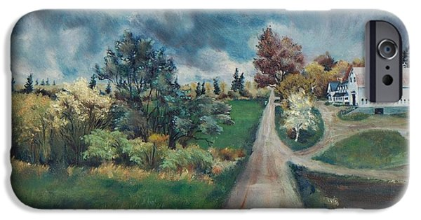 Maine Farms Paintings iPhone Cases - Spring Farm iPhone Case by Joy Nichols